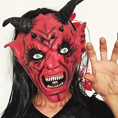 Devil Inferno Satan Mask Horror Halloween Novelty Red Face Adult Size Party Head Long Hair Mask For Women Men