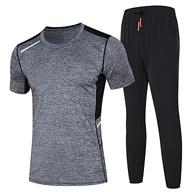 Men's Running T-Shirt with Pants Moisture Wicking Quick Dry Clothing Suits for Running/Jogging Exercise & Fitness Black+Gray