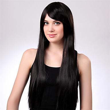 Syntetisk hår Parykker Krop Bølge Lokkløs Naturlig parykk Lang Svart