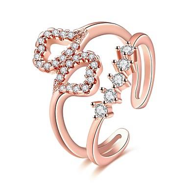 Women's Ring Cubic Zirconia Silver Rose Gold Rose Gold Zircon Copper Silver Plated Rose Gold Plated Geometric Irregular Personalized