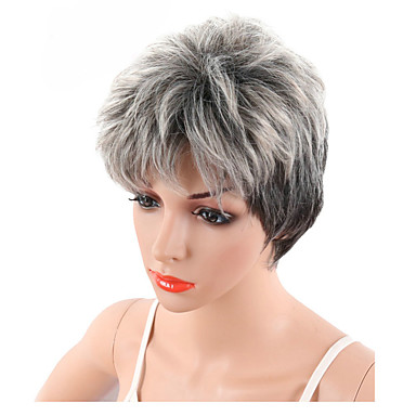 Sliver Gray Short Pixie Cut Wave Synthetic Wigs Natural Hairstyle Heat Resistant Fiber Hair Wig