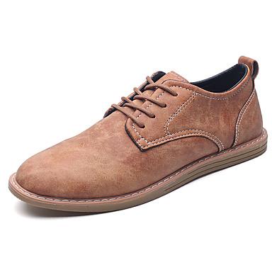 Miesten kengät PU Kevät Syksy Valopohjat Comfort Oxford-kengät Solmittavat varten Juhlat Musta Ruskea Ruudun väri