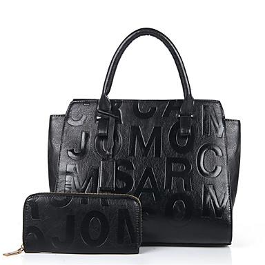 Women's Bags PU(Polyurethane) Bag Set Zipper Black / Red / Brown