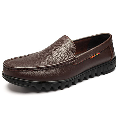 Men's Shoes Real Leather Cowhide Fall Winter Comfort Light Soles Loafers & Slip-Ons For Casual Outdoor Office & Career Black Brown
