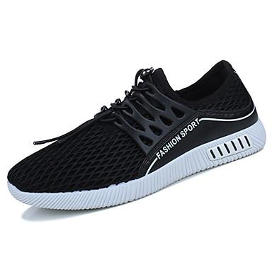 Homens sapatos Couro Ecológico Tule Primavera Outono Solados com Luzes Conforto Tênis Cadarço para Casual Ao ar livre Preto Cinzento