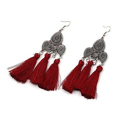 Women's Luxury Tassel Oversized Drop Earrings - Luxury Tassel Oversized Hip-Hop Gothic Punk Black Red Green Geometric Earrings For