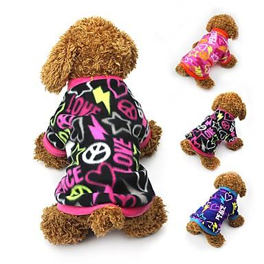 Katt Hund Kappor T-shirt Tröja Hundkläder Hjärta Svart Fuchsia Blå Polär Ull Kostym För husdjur Dam Fest Ledigt/vardag Håller värmen