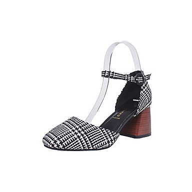 Women's Shoes PU Spring Summer Comfort Heels For Casual Black