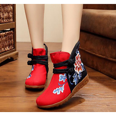 Women's Shoes Canvas Fall Comfort Boots For Casual Black Red