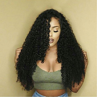 Remy Human Hair Glueless Lace Front / Lace Front Wig Kinky Curly Wig 130% / 150% Natural Hairline / African American Wig / 100% Hand Tied Women's Short / Medium Length / Long Human Hair Lace Wig