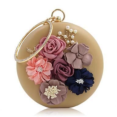 billige Vesker-Dame Rhinsten / Perlearbeid / Kronblader PU Aftenveske Rhinestone Crystal Evening Bags Svart / Hvit / Rosa / Bryllup Vesker / Bryllup Vesker
