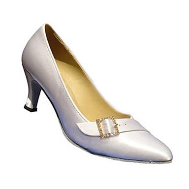 Mulheres Sapatos de Dança Moderna Seda Sandália Presilha Salto Cubano Personalizável Sapatos de Dança Branco / Amêndoa / Espetáculo