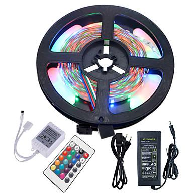 Hkv® 5m sem impermeabilidade 3528 300led rgb strip flexível luz 24key ir controle remoto 5a fonte de alimentação ac 100-240v