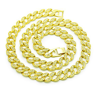 Men's Chain Necklace - Rhinestone, Gold Plated Basic, Punk Gold Necklace For Birthday, Gift, Daily