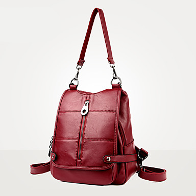 Women's Bags PU Backpack for Casual Formal Traveling Office & Career Outdoor All Seasons Blue Black Red Amethyst Light golden
