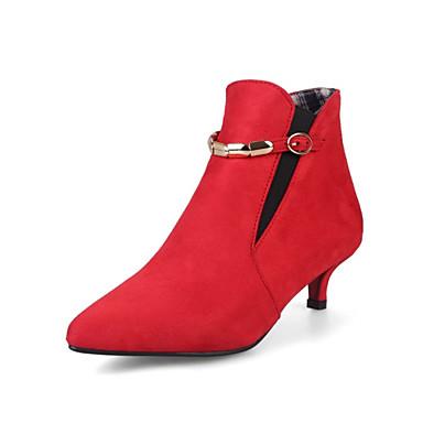 Dame Sko Kashmir Vår Høst Ankelstøvel Trendy støvler Gladiator Støvler Liten hæl Spisstå Ankelstøvler Spenne Strikk Kjede til Kontor og