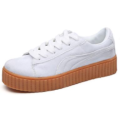 Mulheres Sapatos Couro Ecológico Primavera Outono Conforto Tênis Sem Salto para Ao ar livre Branco Preto Bege Cinzento Vermelho
