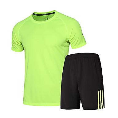 Herre T-skjorte og shorts til jogging Kortermet Fort Tørring Pustende Løp Klessett til Trening & Fitness Løp Svart/Grønn