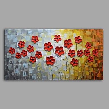 Hand-Painted Floral/Botanical Horizontal, Abstract Pastoral Canvas Oil Painting Home Decoration One Panel