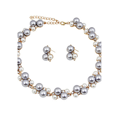 Women's Rhinestone Imitation Pearl Imitation Pearl Jewelry Set - Classic Euramerican Fashion Circle Gray Jewelry Set Pearl Necklace