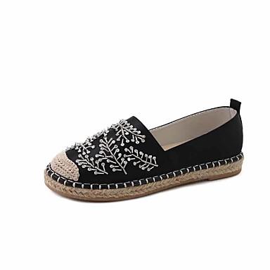 Naiset Kengät PU Syksy muodollinen Kengät Tasapohjakengät Kävely Tasapohja Pyöreä kärkinen Tekojalokivi varten Kausaliteetti Puku Musta
