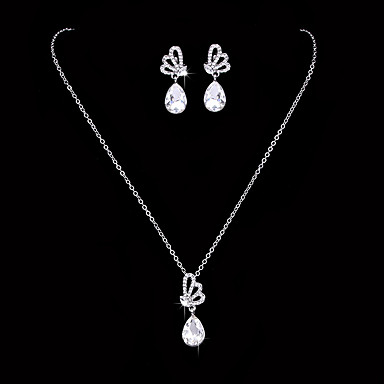 Mulheres Cristal Zircônia cúbica Zircônia Cubica Conjunto de jóias - Clássico Elegant Prata Brincos Compridos Gargantilhas Sets nupcial