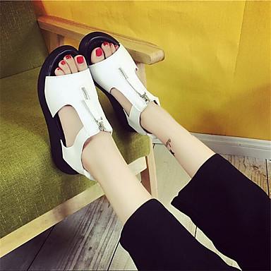 Dame Sko PU Vår Komfort Sandaler Med Til Avslappet Hvit Svart