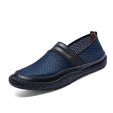 Homens sapatos Couro Ecológico Primavera Outono Solados com Luzes Conforto Mocassins e Slip-Ons Aventura Cadarço para Casual Cinzento