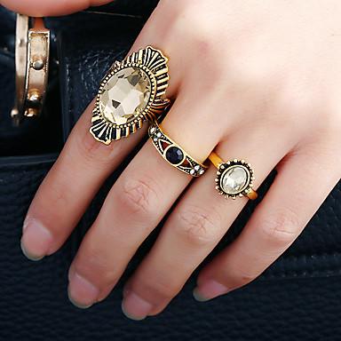 Naisten mansetti Ring Sormus Band Ring Pyöreä Euramerican Muoti Rock Metalliseos Tekojalokivi Pyöreä Circle Shape epäsäännöllinen Korut