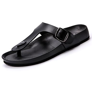 Homens sapatos Couro Ecológico Primavera Outono Conforto Chinelos e flip-flops para Ao ar livre Branco Preto