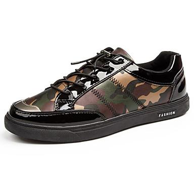 Homens sapatos Couro Ecológico Primavera Outono Conforto Tênis Cadarço para Atlético Cinzento Vermelho Verde