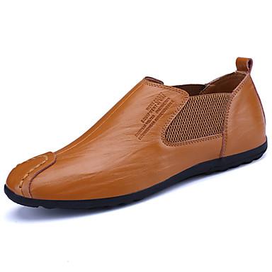 Homens sapatos Couro Primavera Outono Solados com Luzes Conforto Mocassins e Slip-Ons para Casual Festas & Noite Preto Amarelo Marron