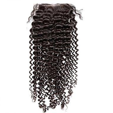 Løse kinky krøllete menneskelige hår blonder topp lukking kinky krøllete blekt knuter med baby hår 3.5x4inch