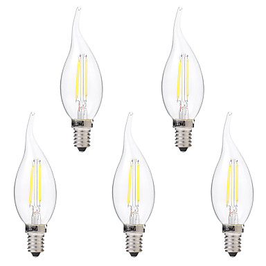 BRELONG® 5pçs 2W 200 lm E14 Lâmpadas de Filamento de LED C35 2 leds COB Regulável Branco Quente Branco AC 220-240V
