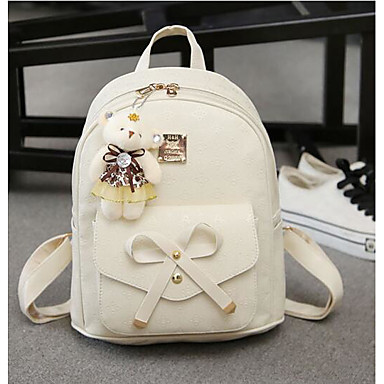 Women's Bags Canvas PU Backpack Zipper for Casual Fall All Seasons White Black