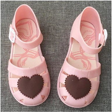 Girls' Sandal Comfort Summer PVC Casual Black Blushing Pink Flat