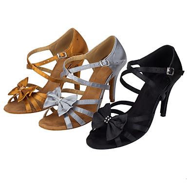 Mulheres Sapatos de Dança Latina Seda Sandália Laço(s) Salto Agulha Personalizável Sapatos de Dança Preto / Khaki / Espetáculo