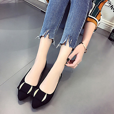 Women's Shoes Patent Leather Spring Fall Comfort Light Soles Flats Flat Heel Pointed Toe Bowknot for Casual Dress Black Gray Army Green
