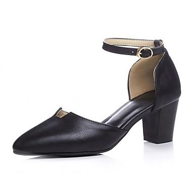 Mulheres Sapatos Couro Ecológico Sintético Verão Outono Inovador Conforto Saltos Caminhada Salto Robusto Ponta Redonda Presilha Poa para