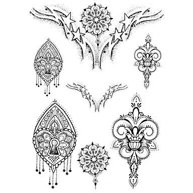 Temporary Hand 7 Pcs Face Body Totem  Series 3D Rose Waterproof Tattoos Stickers Non Toxic Glitter Large Fake Tattoo Halloween Gift 22*15cm