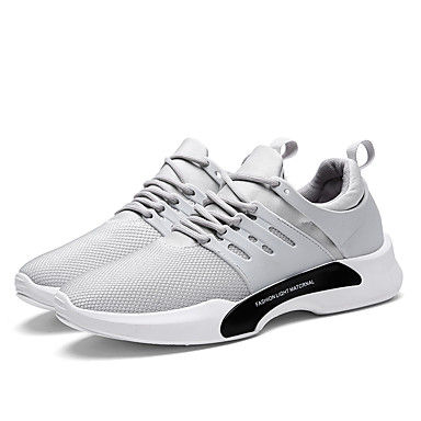Men's Shoes Net Summer Fall Light Soles Comfort Sneakers Lace-up for Athletic Casual Black Gray Light Grey