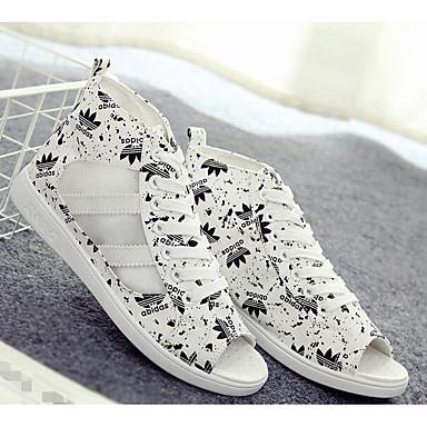 Naiset Sandaalit Comfort PU Kevät Kausaliteetti Comfort Musta Sininen Tasapohja