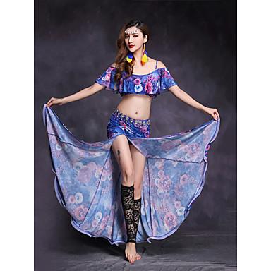 Dança do Ventre Roupa Mulheres Espetáculo Fibra Sintética Elastano Estampa Fenda Frontal Manga Curta Natural Saias Blusa