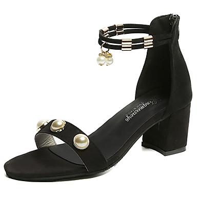 Mulheres Sapatos Couro Ecológico Verão Conforto Solados com Luzes Sandálias Salto de bloco Dedo Aberto Pérolas para Casual Social Preto