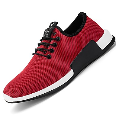 Men's Shoes Net Summer Fall Light Soles Sneakers Side-Draped for Casual Outdoor Office & Career Black Dark Red