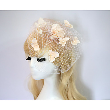 Cotton Flowers Birdcage Veils 1 Wedding Special Occasion Party / Evening Casual Headpiece