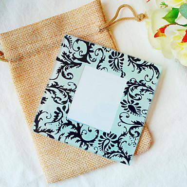 1pcs/bag Black Damask Glass Photo Coaster Beter Gifts® Life Style