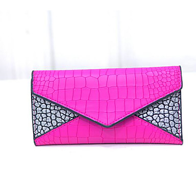 Women's Bags PU Checkbook Wallet for Casual All Seasons Black Fuchsia Navy Blue