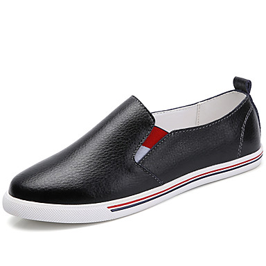 Women's Shoes PU Spring Fall Comfort Loafers & Slip-Ons Flat Heel Round Toe for Casual White Black