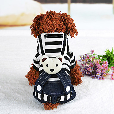 Dog Harness Dress Dog Clothes Casual/Daily Stripe Black Red Costume For Pets